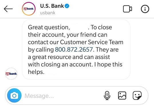 My Conversation with Customer Care of US Bank on Instagram