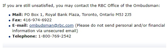 Example of Email Address of Bank on Official Website