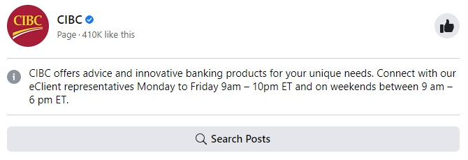Example of Verified Page of the Bank
