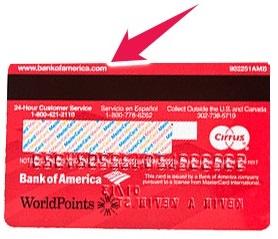 Image Showing Back Side of Debit Card