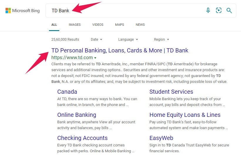 Image Showing Bank's Official Website in Search Engine Results