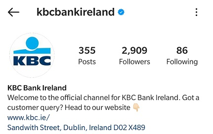 Verified Instagram Profile of KBC Bank Ireland with Blue Tick