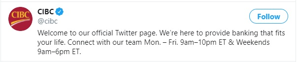 Verified Twitter Handle of CIBC Bank with Blue Tick